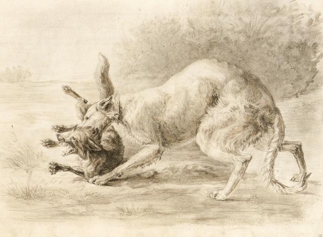 Артемий Обер. Борзая с лисицей.
