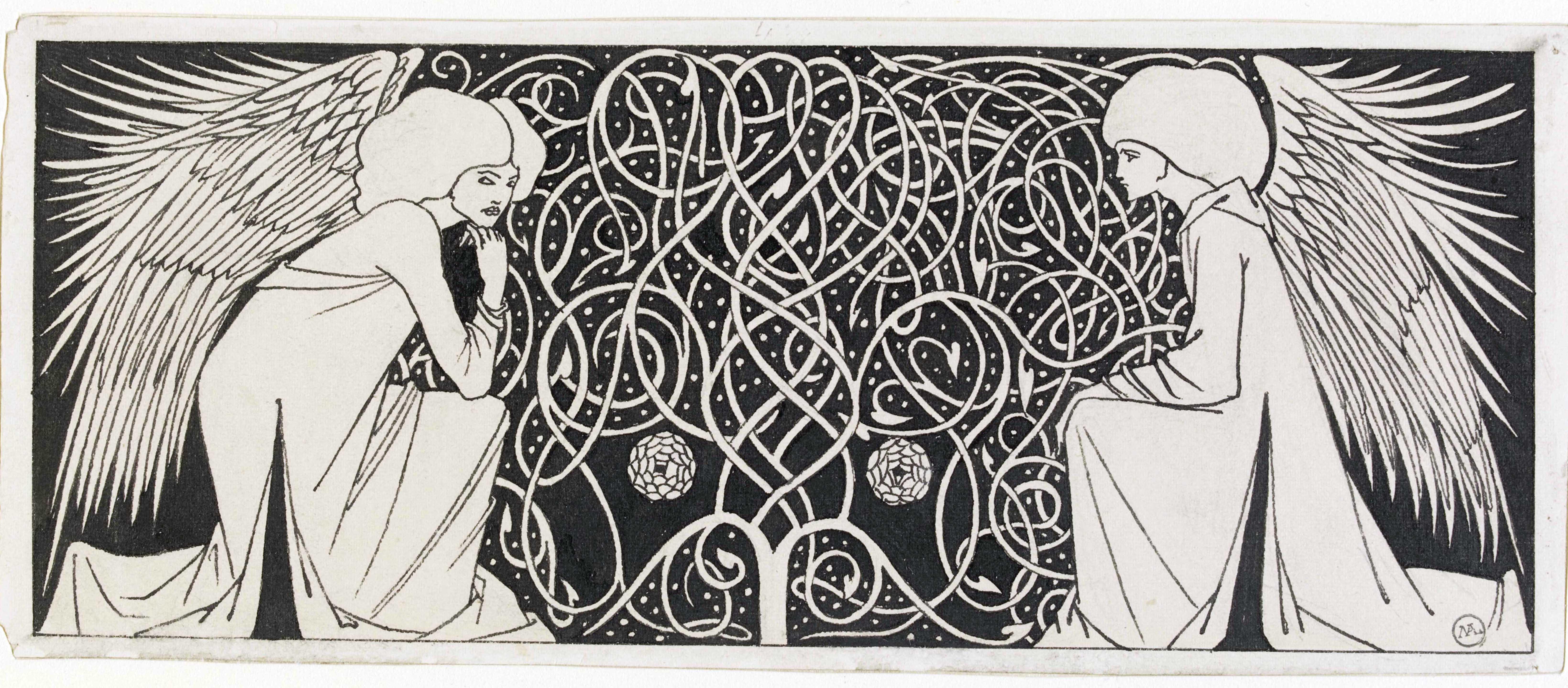 """Обри Бердслей. Титульная заставка для книги Т. Мэлори """"Смерть Артура"""". Около 1893—1894. Бумага, карандаш, тушь. Музей Виктории и Альберта, Лондон."""