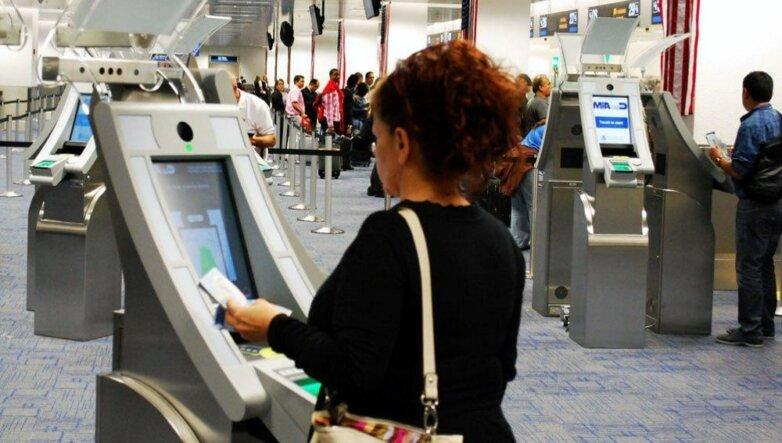 Паспортный контроль, самообслуживание, аэропорт, терминал