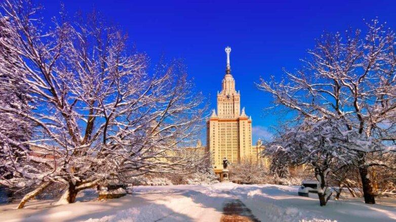 Москва, МГУ, солнце, зима