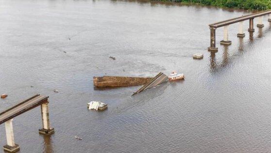 В Сеть выложили видео с обрушением моста в Бразилии