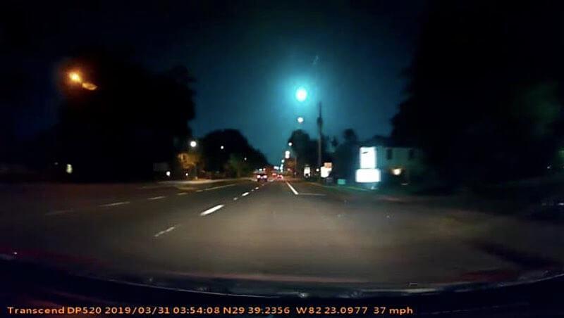 Метеор над Флоридой попал на видеорегистратор