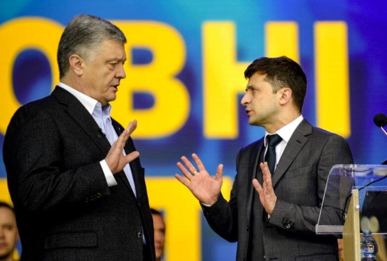 Пётр Порошенко и Владимир Зеленский Дебаты 19 апреля на стадионе Олимпийский Киев