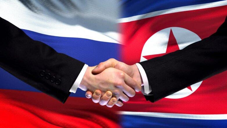 Флаг России и Северной Кореи