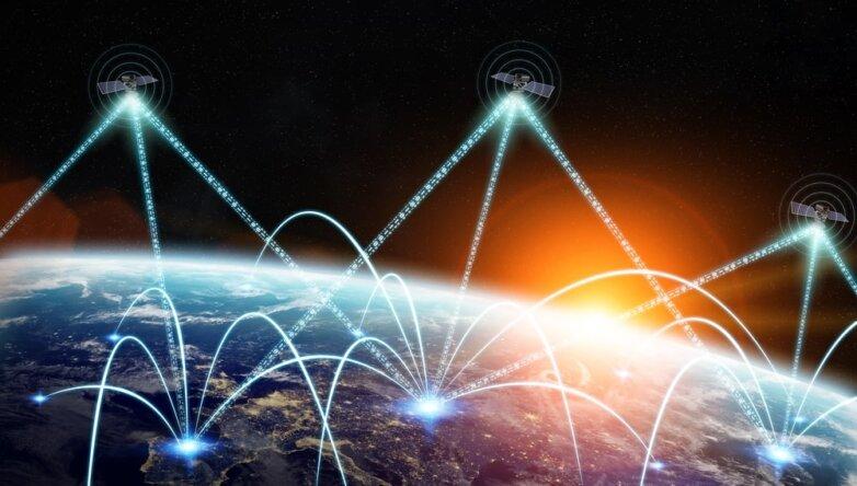 Спутники, Земля из космоса, интернет, сеть