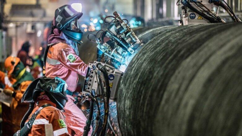 Труба Северный поток-2 газопровод сварка на борту трубоукладочного судна C10