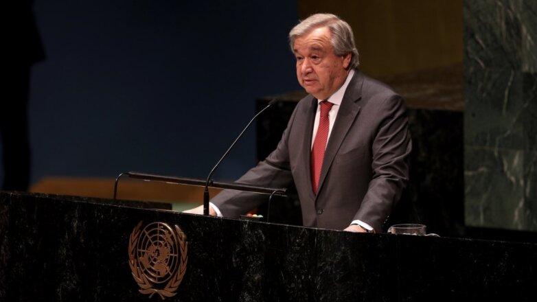 Генеральный секретарь ООН Антониу Гутерреш выступает