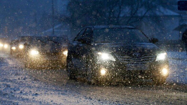 метель снегопад дорога автомобили