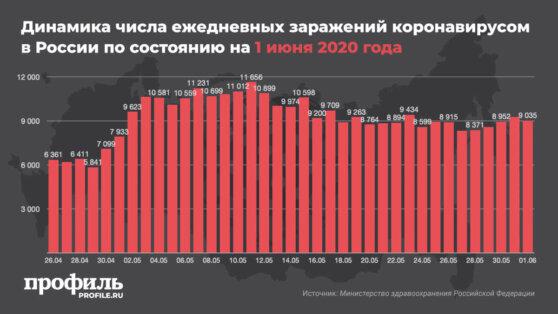 В России выявили 9035 новых случаев заражения COVID-19
