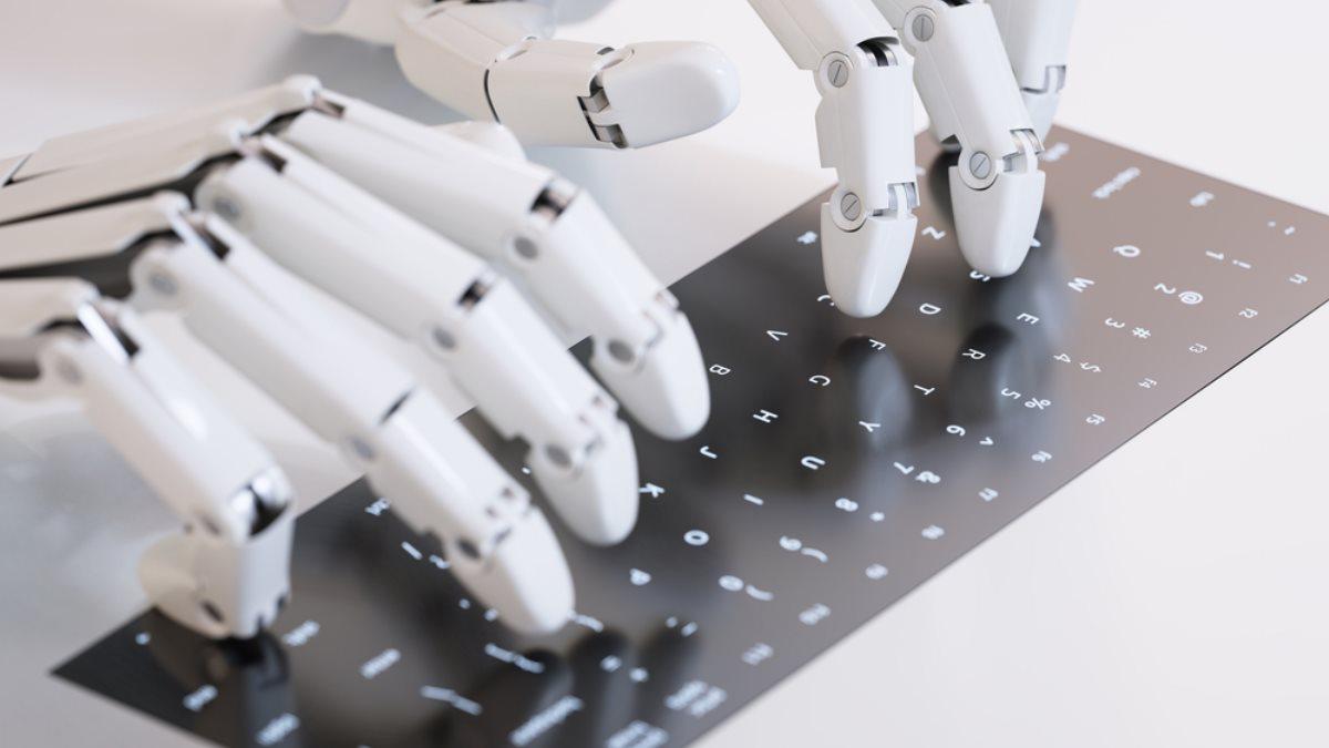 Искусственный интеллект робот набирает текст на клавиатуре клавиатура генератор текста