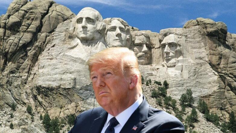 Дональд Трамп и гора Рашмор президенты США
