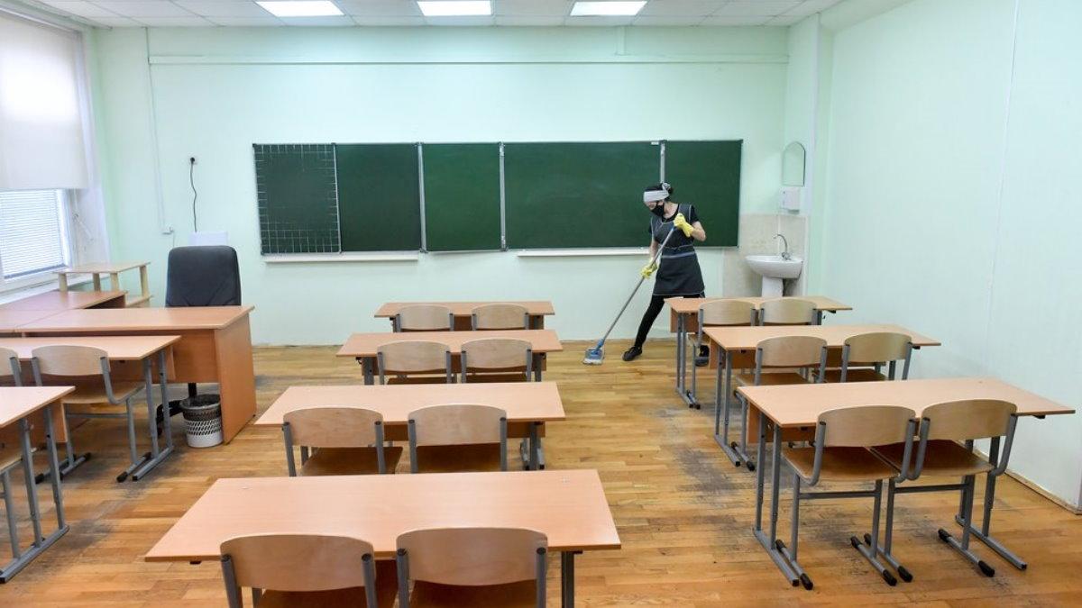 Россия школа коронавирус дезинфекция два
