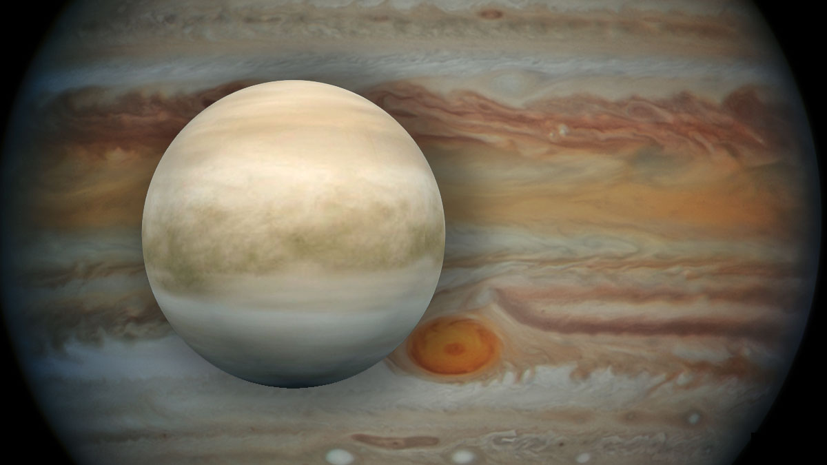 Венера на фоне юпитера