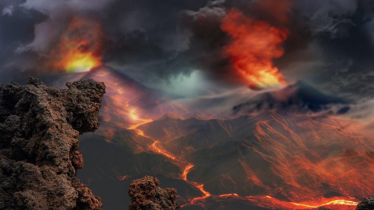 Вулканы извержение лава