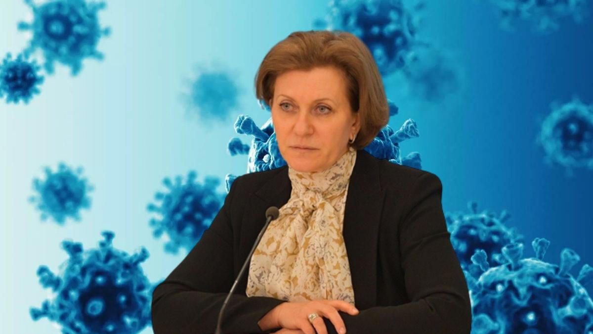 Анна Попова и коронавирус синий фон