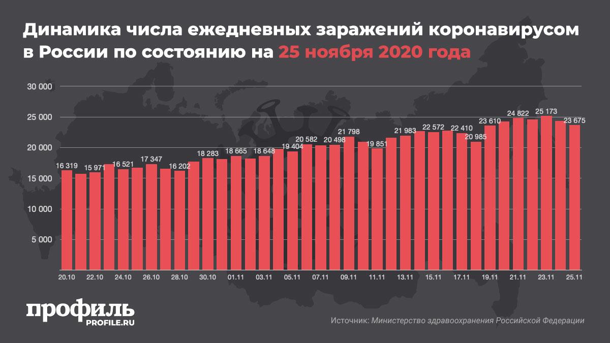 Динамика числа ежедневных заражений коронавирусом в России по состоянию на 24 ноября 2020 года