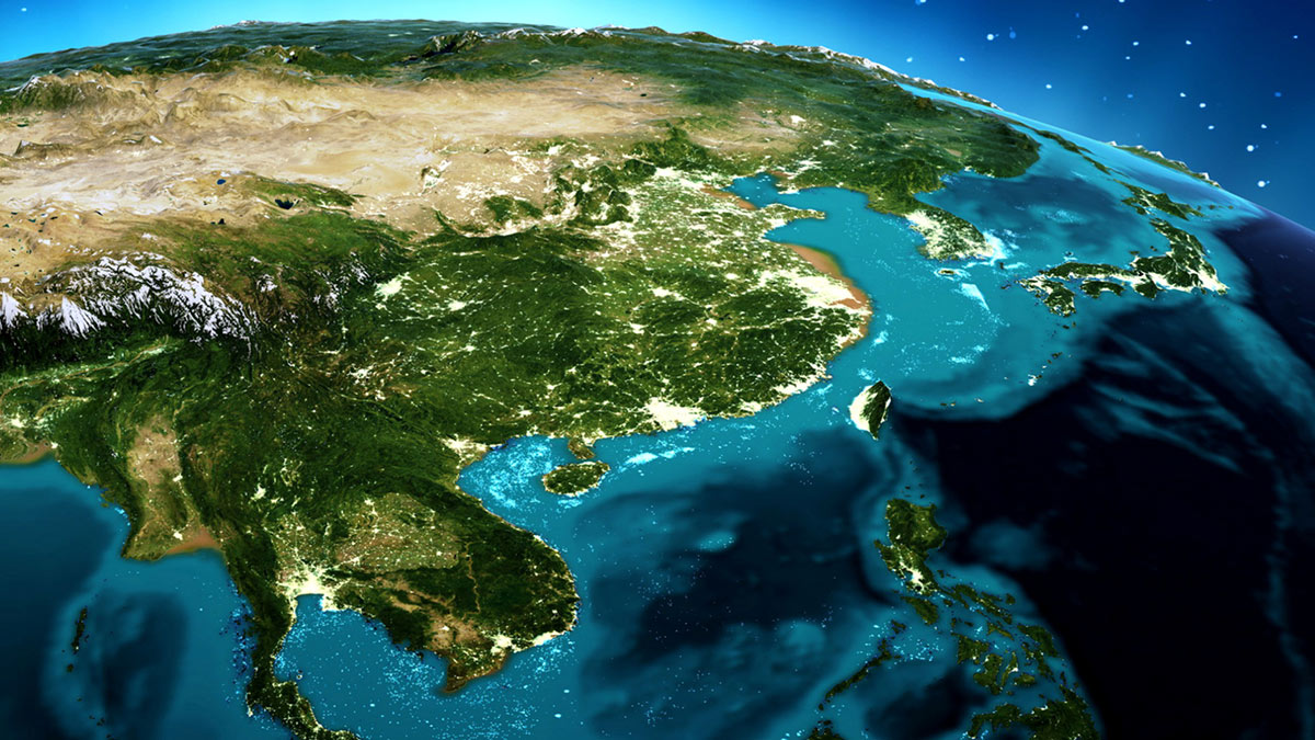 земля Азия вид из космоса китай океан