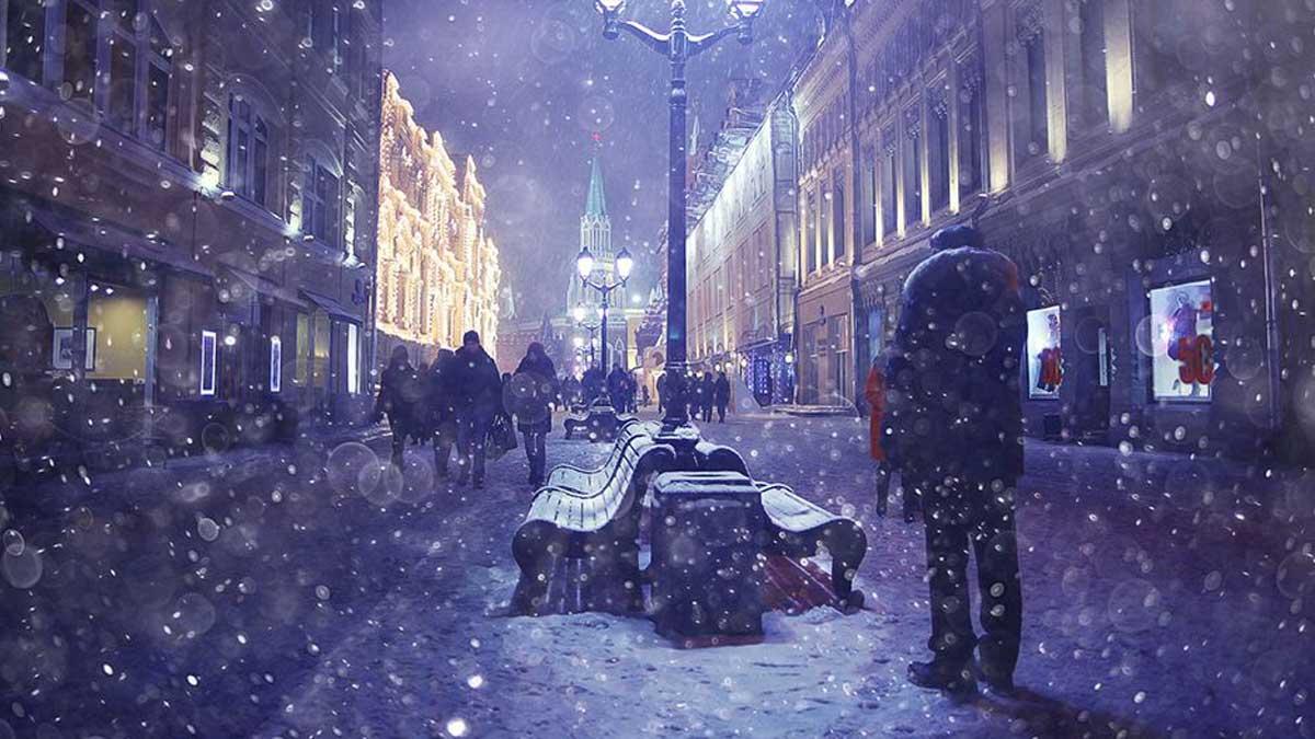 Мороз ночь Москва холод люди
