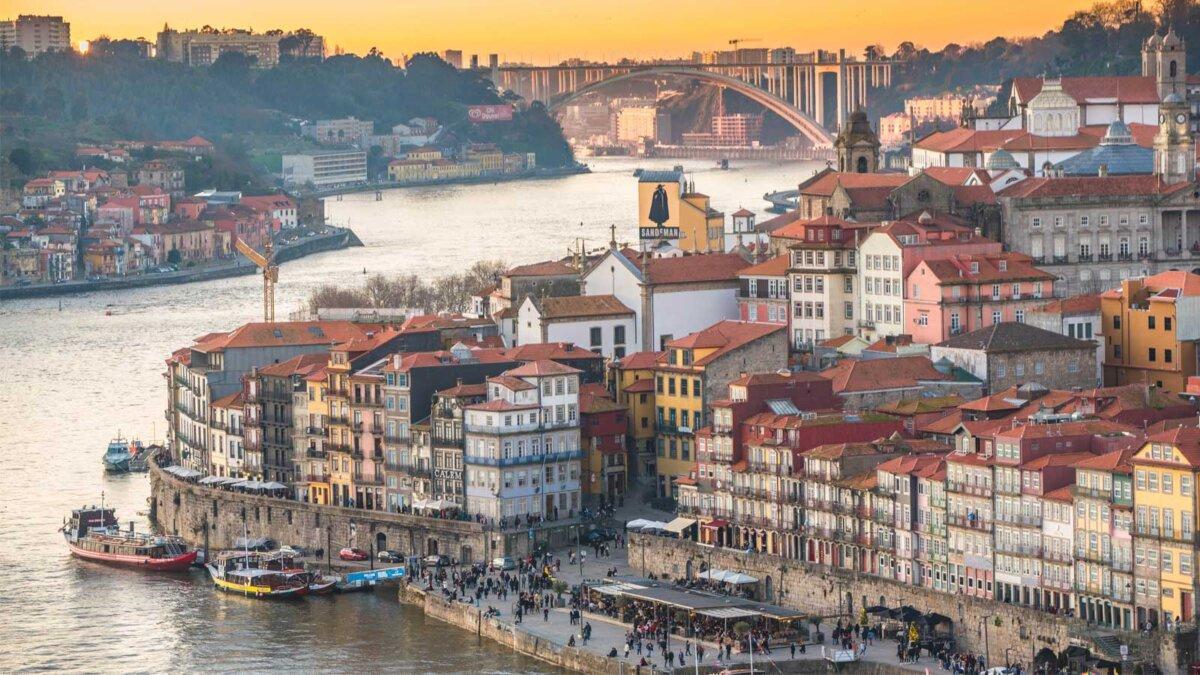 Город Порту центра Португалия View over Porto city center