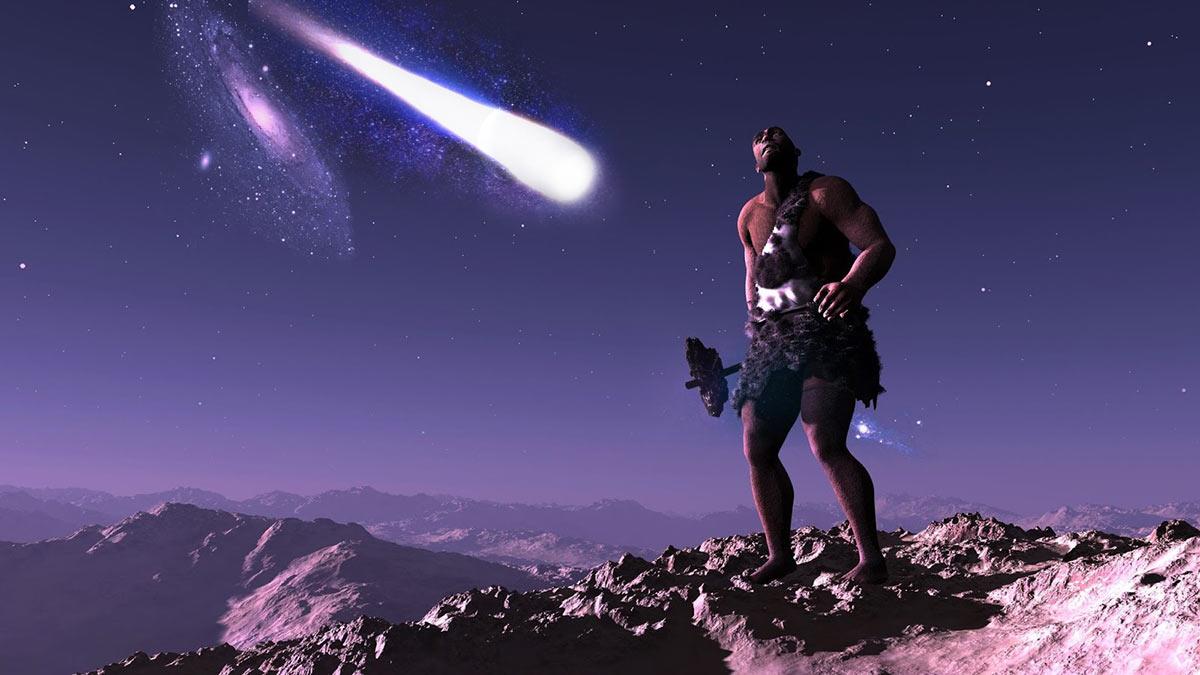 древний человек и падающая комета