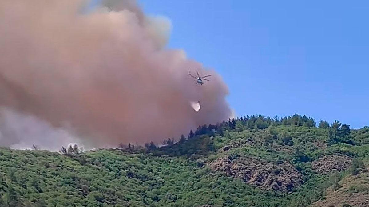 Пожар Турция лес вертолет