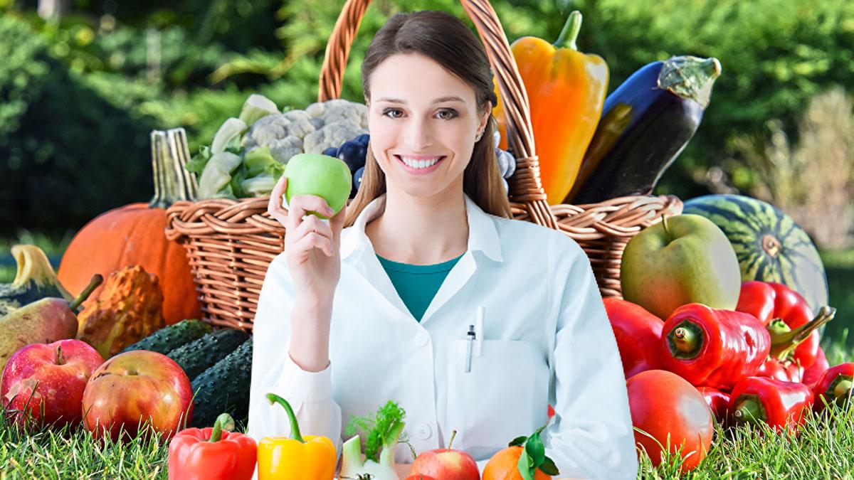 девушка диетолог овощи и фрукты