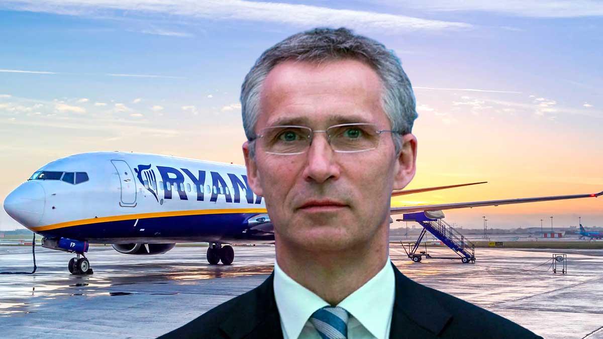 самолет Ryanair Йенс Столтенберг